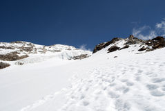 Footprints. On the glacier climbing giordani peak Royalty Free Stock Image
