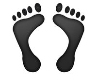 Footprints. Two black feet-print in succession Stock Image