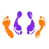 Footprints. Prints of Human Feet (male and female) Having Sexual Intercourse in Missionary Position Stock Images