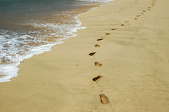 Footprints. In the sand Royalty Free Stock Image
