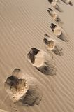 Footprints across sand dunes Stock Photo