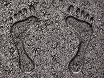 Footprints in Asphalt Stock Images