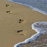 Footprints at the beach Stock Photography