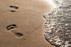 Footprints on the beach. Foot-pure in the sand lead along the water stock photos