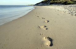 Footprints at the beach. Footprints on the sand along an endless, empty beach Stock Image