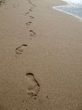 Footprints on beach Stock Image