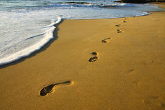 Footprints on the beach. Footprints on the sand orange beach Royalty Free Stock Photo