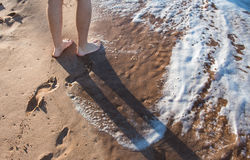 Footprints on the beach. Footprints or Footmarks on the beach stock image