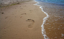 Footprints on the beach sand. stock photos
