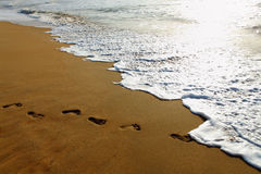 Footprints on beach sand. Stock Images