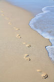 Footprints on beach sand Stock Image