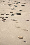 Footprints at the beach among the stones Stock Image