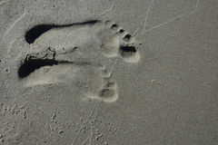 Footprints on the beach in wet sand Royalty Free Stock Photos
