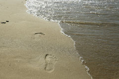 Footprints on the beach Royalty Free Stock Photos