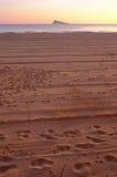 Footprints on Benidorm beach Stock Photo