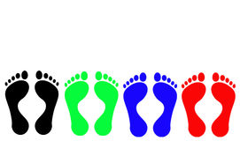 Footprints: Black, Green, Blue, Red Royalty Free Stock Photos