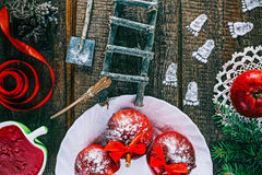 Footprints on the christmas table Royalty Free Stock Images