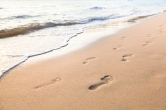 Footprints of couple walking on the beach. Footprints of couple on the sand of beach Stock Images