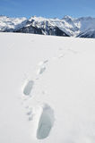 Footprints in the deep snow Royalty Free Stock Photo
