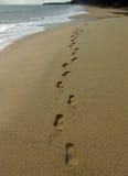 Footprints on Desaru beach Stock Photo