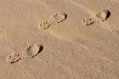 Footprints in desert 1 Royalty Free Stock Photos
