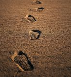 Footprints on the desert, nobody royalty free stock image