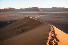 Sossusvlei Dune 45 Namibia. Footprints on Dune 45 Sossusvlei Stock Image