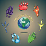 Footprints and earth Royalty Free Stock Photo