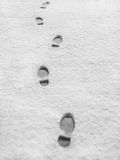 Footprints in fresh snow. Close up of footprints receding into distance in fresh snow Stock Photo