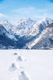 Footprints in fresh snow in the alps Royalty Free Stock Image