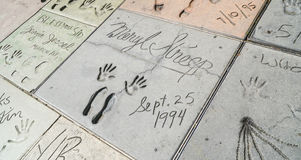 Footprints and Handprints of Meryl Streep at Chinese Theater in Hollywood - LOS ANGELES - CALIFORNIA - APRIL 20, 2017 royalty free stock photos