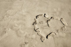 Footprints heart Royalty Free Stock Photography
