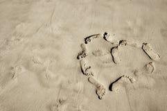 Footprints heart Royalty Free Stock Photography