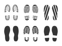Footprints human shoes silhouette royalty free stock image