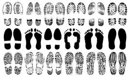 Footprints human shoes silhouette, vector set, isolated on white background. Shoe soles print. Foot print tread, boots, sneakers. Impression icon barefoot Royalty Free Stock Image