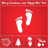 Footprints Icon Vector. And bonus symbol for New Year - Santa Claus, Christmas Tree, Firework, Balls on deer antlers Stock Images
