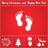 Footprints Icon Vector. And bonus symbol for New Year - Santa Claus, Christmas Tree, Firework, Balls on deer antlers Stock Image