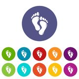 Footprints icons set vector color. Footprints icons color set vector for any web design on white background Royalty Free Stock Photography