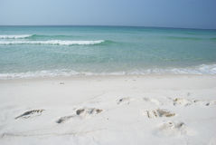 Footprints In White Sand Beach Royalty Free Stock Images