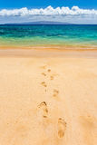 Footprints Leading To Paradise Stock Photo