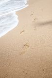 Footprints left in sand at Black Sea Stock Photo