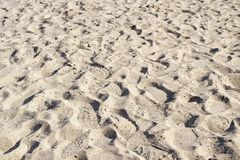 Footprints in loose dry beach sand background Stock Image