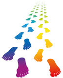 Footprints Love Couple Rainbow Colors Stock Photography