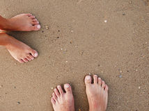 Footprints of a loving couple in the sand on the seashore Stock Image