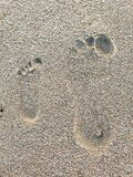 Footprints of mother and child in the sand