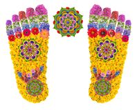 Free Footprints Of Buddha`s Feet Symbolize The Path Of The Gods And Mean A Divine Presence Or Visit To A Holy Person Isolated Floral Stock Images - 183120244