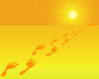 Footprints. On an orange background Stock Photos