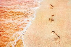 Footprints of the people on a golden pink sand on the sea coast. Soft waves of pink color. Marine creative background close up Royalty Free Stock Photography