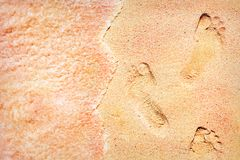 Footprints of the people on a multicolored sand on the sea coast. Soft waves of pink color. Stock Photography
