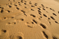 Footprints on the sand. Royalty Free Stock Photography